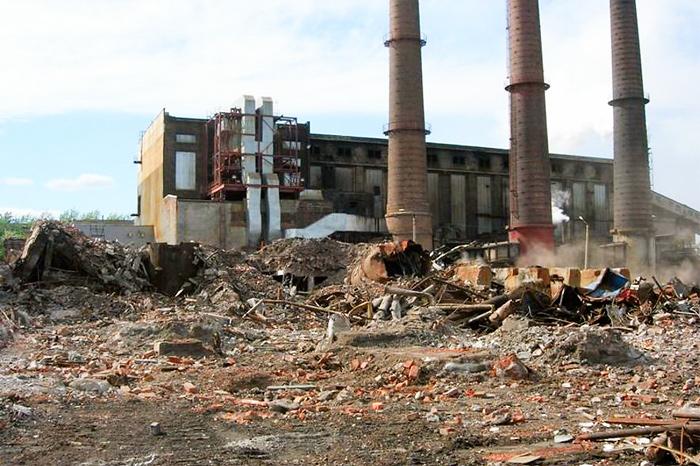 Снос цеха целлюлозного завода в г. Сегежа (Карелия)