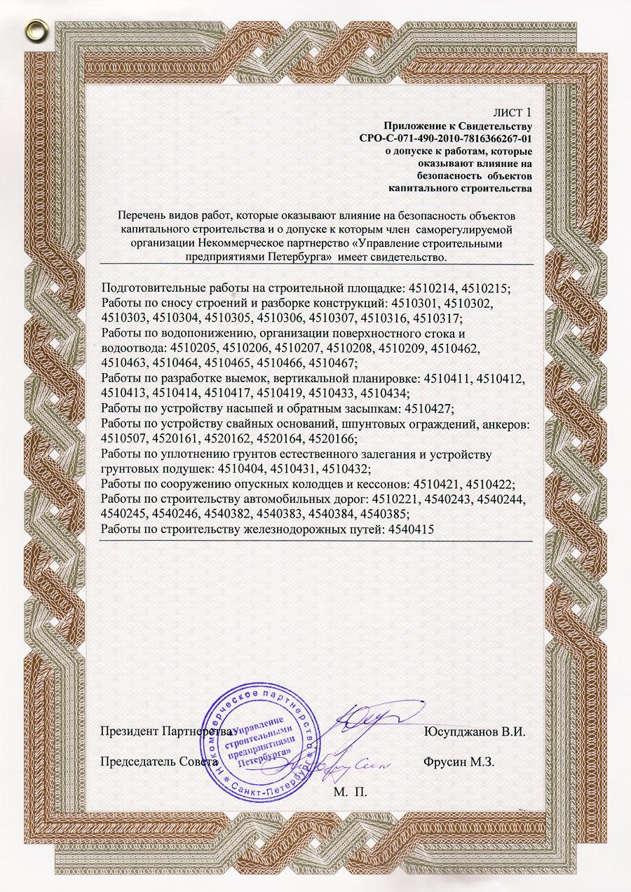 Приложение к сертификату о членстве в НП «Управление строительными предприятиями Петербурга»
